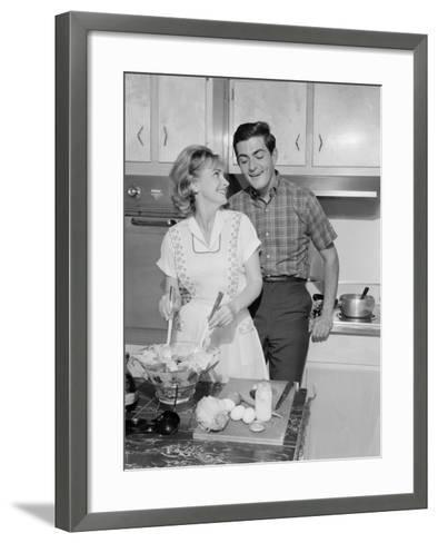 Mid Adult Couple in Kitchen, Woman Preparing Salad-George Marks-Framed Art Print