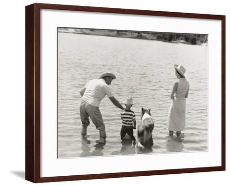 Family Fishing by Lake-Dennis Hallinan-Framed Art Print