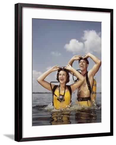 Couple Scuba Diving-Dennis Hallinan-Framed Art Print