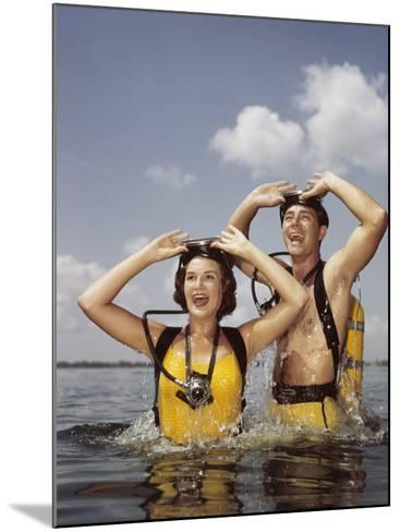 Couple Scuba Diving-Dennis Hallinan-Mounted Photographic Print