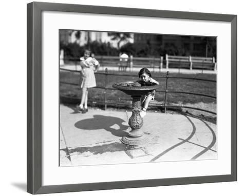 Girl (4-5) Drinking from Water Fountain, (B&W)-George Marks-Framed Art Print