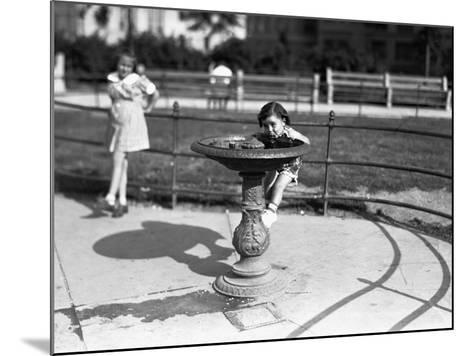 Girl (4-5) Drinking from Water Fountain, (B&W)-George Marks-Mounted Photographic Print