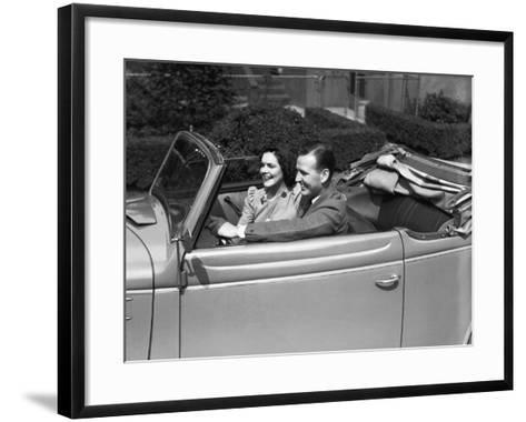 Couple Riding in Old Fashion Convertible Car-George Marks-Framed Art Print