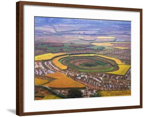 China, Guizhou Province, Round Shaped Rice Paddy after Harvest-Keren Su-Framed Art Print