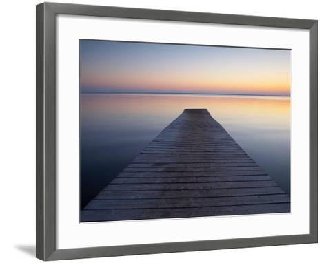 A Jetty by a Lake at Sunset--Framed Art Print