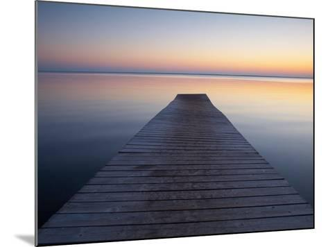 A Jetty by a Lake at Sunset--Mounted Photographic Print