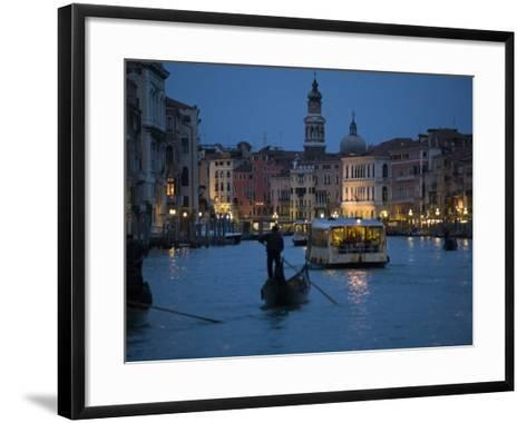 Night-Time on Grand Canal, Venice--Framed Art Print
