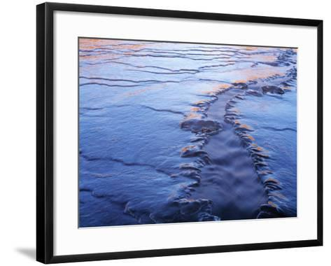 Water in a Frozen River, Iceland--Framed Art Print