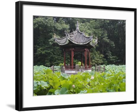 China, Pavilion and Lotus Pond-Keren Su-Framed Art Print