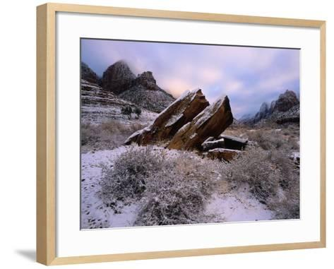 Rocks Rest at Bizarre Angles on the Ground in the Winter-Jeff Foott-Framed Art Print