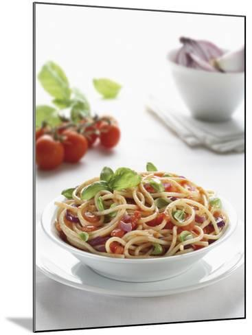 Close-Up of Spaghetti with Fresh Tomatoes--Mounted Photographic Print