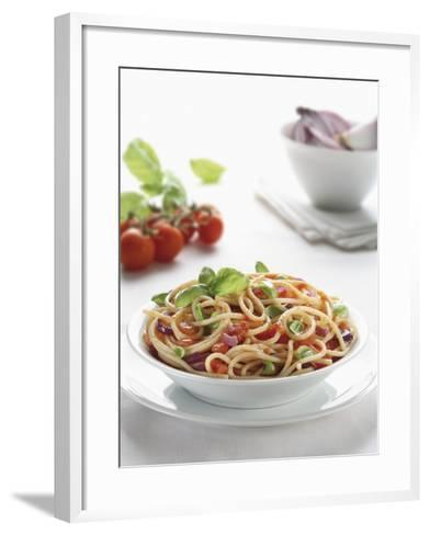 Close-Up of Spaghetti with Fresh Tomatoes--Framed Art Print
