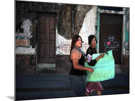 Transsexuals March in Guatemala City On-Eitan Abramovich-Mounted Photographic Print