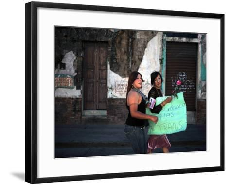 Transsexuals March in Guatemala City On-Eitan Abramovich-Framed Art Print