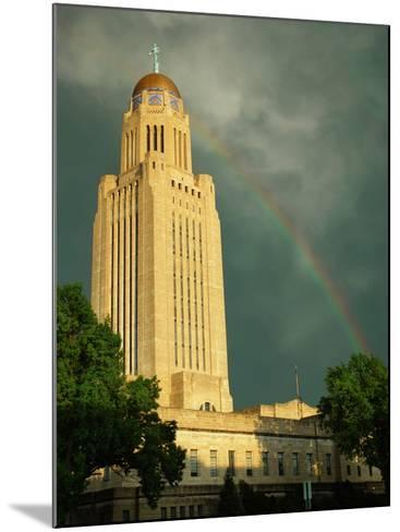 Nebraska, Lincoln, a Rainbow Wraps the State Capitol Building-George Burba-Mounted Photographic Print