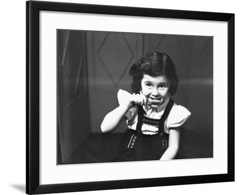 Girl (6-7) Brushing Teeth, (B&W)-George Marks-Framed Art Print