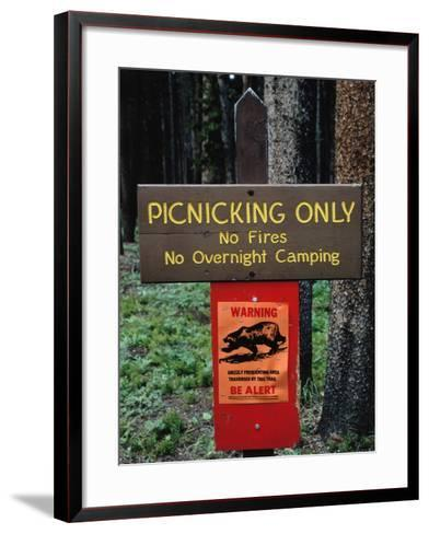 Warning Sign Reads: Picnicking Only-No Fires-No Overnight Camping-Jeff Foott-Framed Art Print