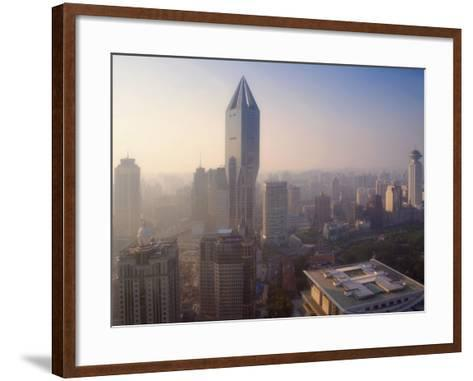 China, Shanghai, Morning View of Tomorrow Square and Shanghai Urban Planning Exhibition Hall-Keren Su-Framed Art Print