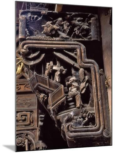China, Zhejiang Province, Intricate Wood Carving on Traditional Architecture-Keren Su-Mounted Photographic Print