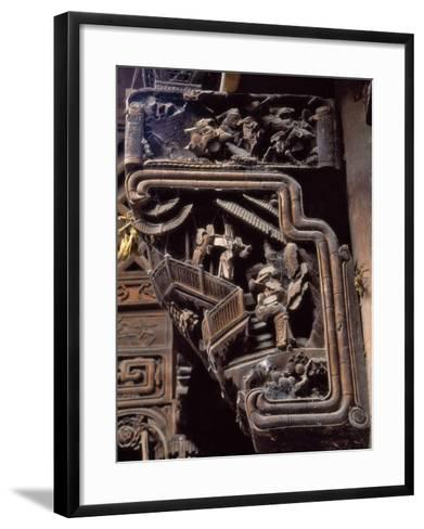 China, Zhejiang Province, Intricate Wood Carving on Traditional Architecture-Keren Su-Framed Art Print