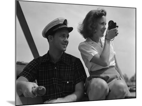 Couple on Sailing Boat-H^ Armstrong Roberts-Mounted Photographic Print