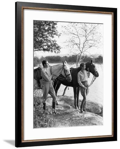 Couple Walking Horses Side By Side, Lake in Background-H^ Armstrong Roberts-Framed Art Print
