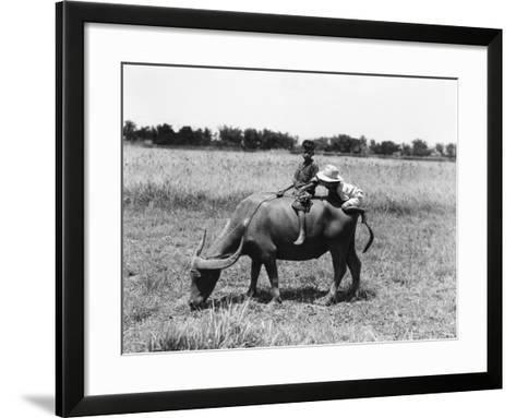 Two Children on Water Buffalo, One Climbing on Rear End, Near Manila-H^ Armstrong Roberts-Framed Art Print