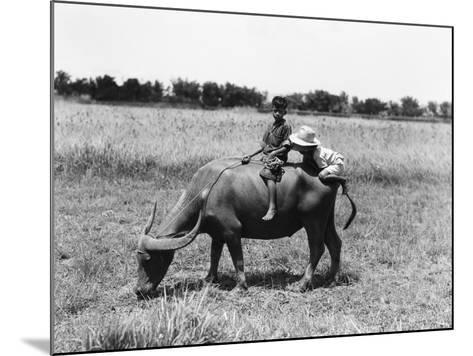 Two Children on Water Buffalo, One Climbing on Rear End, Near Manila-H^ Armstrong Roberts-Mounted Photographic Print