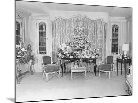 Heavily Decorated Christmas Tree Standing on Period Table-George Marks-Mounted Photographic Print