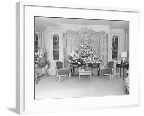 Heavily Decorated Christmas Tree Standing on Period Table-George Marks-Framed Art Print