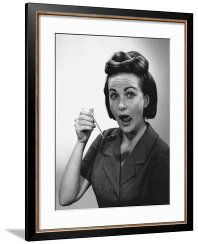 Woman Holding Ladle, Licking Lips, Portrait-George Marks-Framed Art Print
