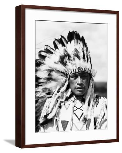 Sioux Native American Man Wearing Large Headdress-H^ Armstrong Roberts-Framed Art Print