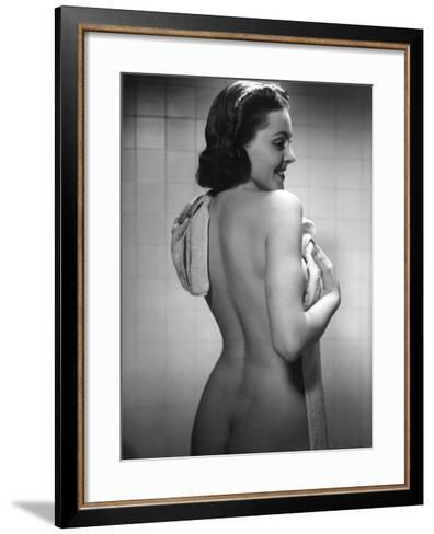 Naked Woman Drying Off With Towel-George Marks-Framed Art Print