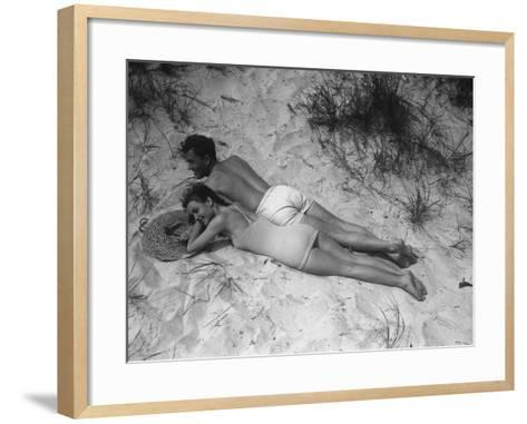 Couple Relaxing on Beach, Elevated View-George Marks-Framed Art Print