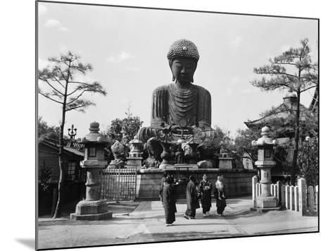 Group of Japanese Woman at Base of Daibutsu Buddha Statue, Near Kobe, Hyogo-H^ Armstrong Roberts-Mounted Photographic Print