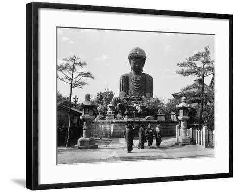 Group of Japanese Woman at Base of Daibutsu Buddha Statue, Near Kobe, Hyogo-H^ Armstrong Roberts-Framed Art Print