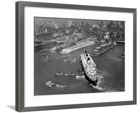 Ocean Liner With Tug Boats in NY Harbor-George Marks-Framed Art Print
