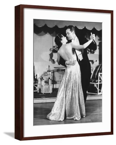 Couple in Evening Wear Dancing (B&W)-George Marks-Framed Art Print