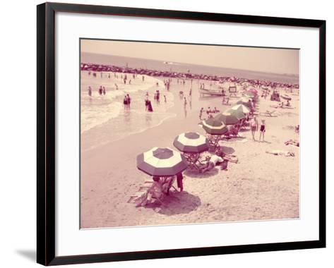 Summer Beach Scene, People Relaxing on Sandy Shore, New Jersey-H^ Armstrong Roberts-Framed Art Print
