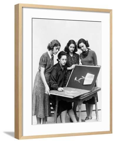 Three Young Women Observing As Fourth Sketches-H^ Armstrong Roberts-Framed Art Print