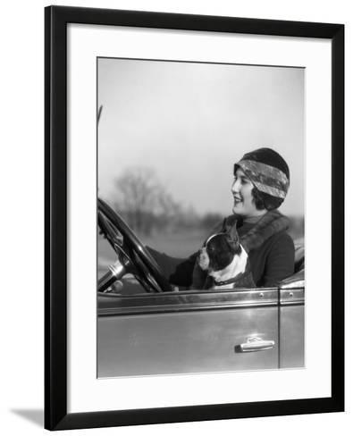 Woman at Steering Wheel Driving Car-H^ Armstrong Roberts-Framed Art Print