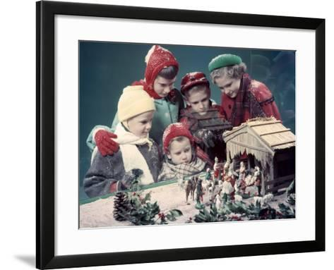 Five Children Looking in Window at Nativity Scene-H^ Armstrong Roberts-Framed Art Print