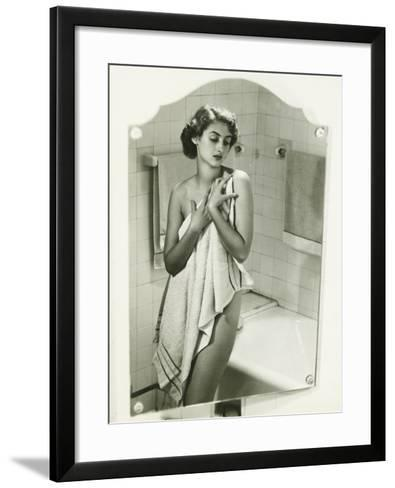 Mirror With Reflection of Woman Covering Herself With Towel in Bathroom-George Marks-Framed Art Print