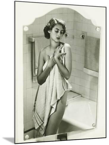 Mirror With Reflection of Woman Covering Herself With Towel in Bathroom-George Marks-Mounted Photographic Print