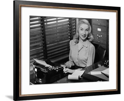 Secretary Sitting at Manual Typewriter, Portrait-George Marks-Framed Art Print