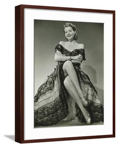 Glamorous Woman in Evening Gown Showing Legs, Portrait-George Marks-Framed Art Print