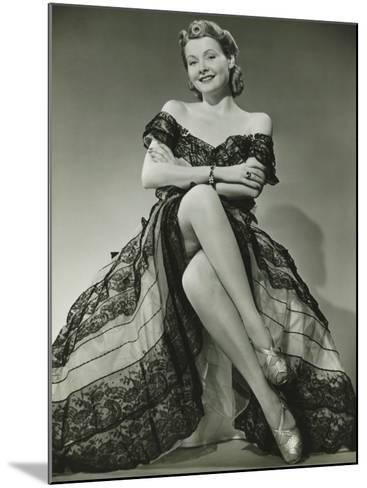 Glamorous Woman in Evening Gown Showing Legs, Portrait-George Marks-Mounted Photographic Print