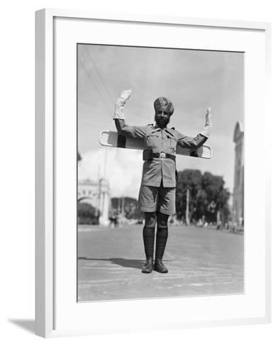 Sikh Traffic Policeman Standing in Middle of Street, Directing Traffic, Singapore-H^ Armstrong Roberts-Framed Art Print