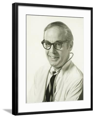 Physician Wearing Stethoscope, (Portrait)-George Marks-Framed Art Print