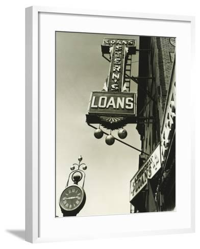 Pawnbrokers Signs Outside Shop, Low Angle View-George Marks-Framed Art Print